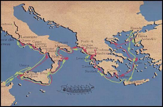Viaggio di Enea secondo Virgilio (linea verde) e Dionigi di Alicarnasso (linea rossa) Ricostruzione di M.T.D'Alessio